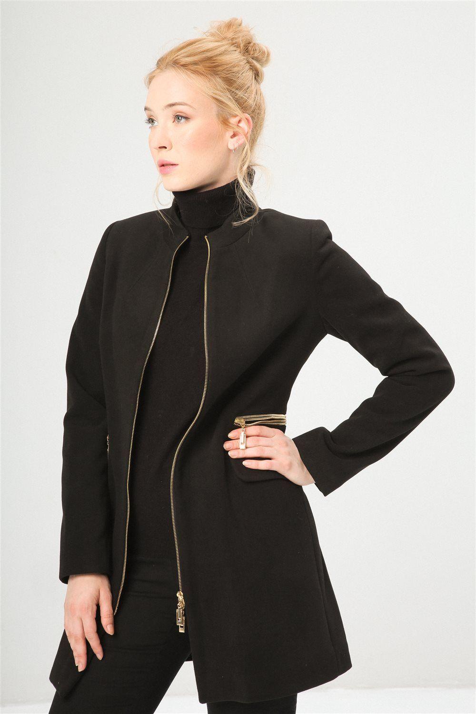 Cremallera 11009 0 Con Moda Abrigo Fontana Mujer Negro 2 De nW0T8gIA