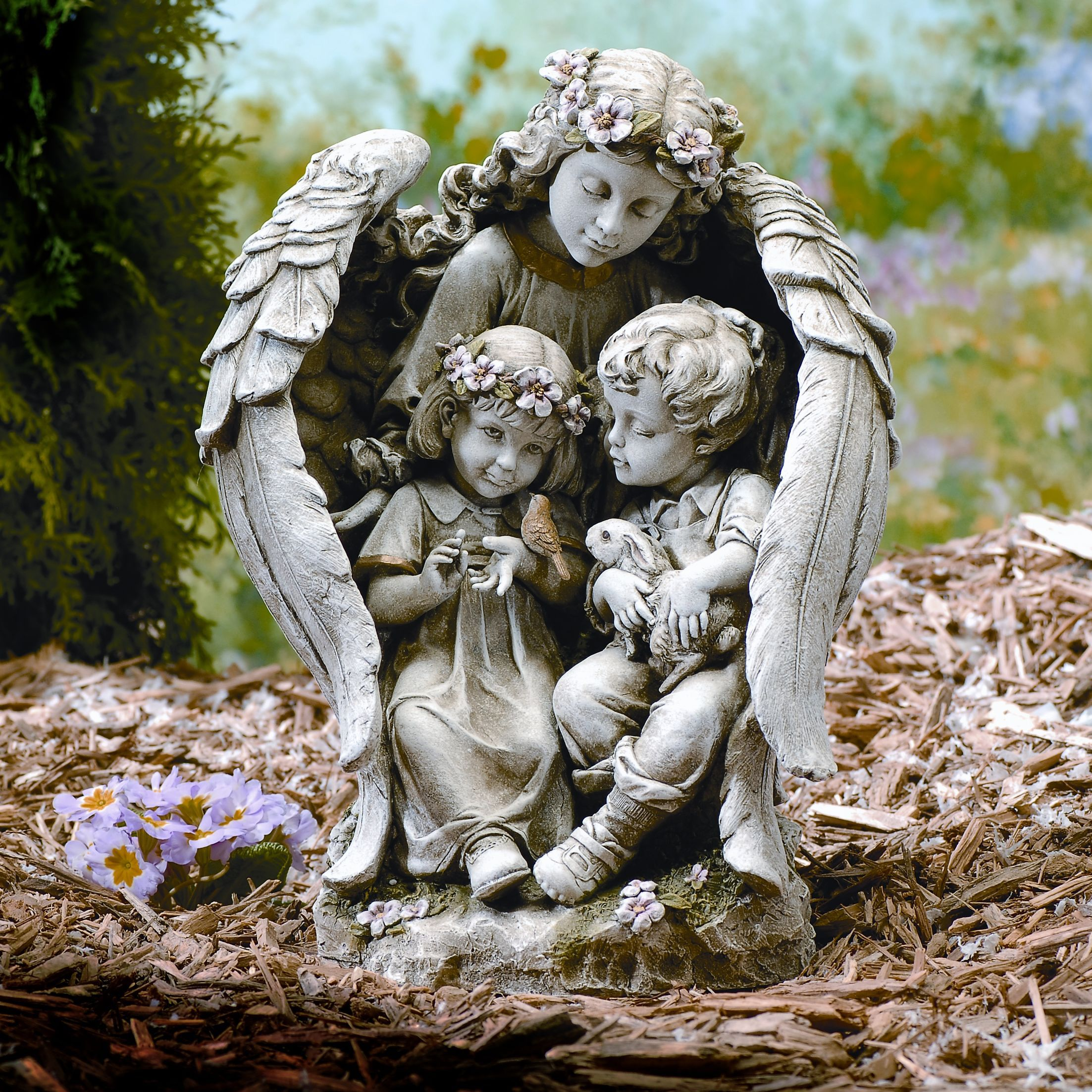 children garden statues. Angel With Children Outdoor Garden Statue Would Enhance Any Or Yard. The Be A Good Gift For Gardener As Statues