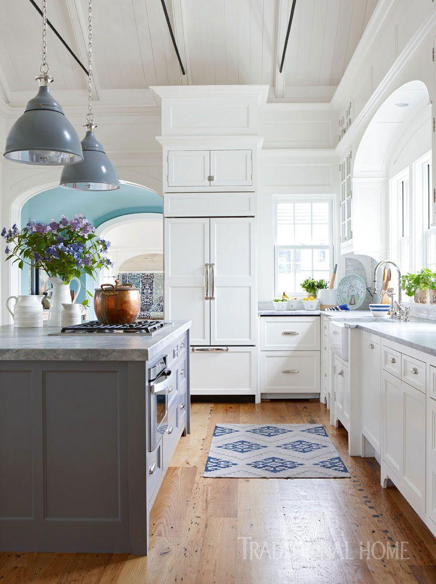 white kitchen with touches of blue - gorgeous! | ✨Beautiful ...