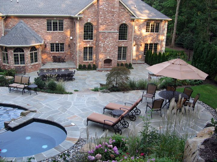 Wonderful patio design irregular grey tco pool patio and bluestone dining patio Saddle River NJ