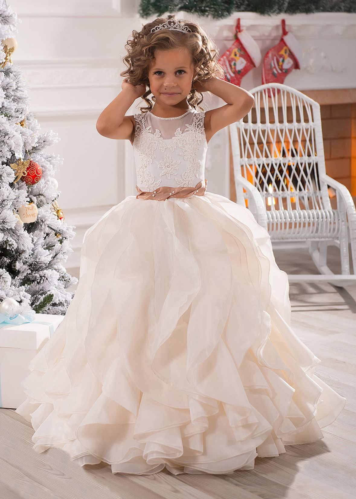 Ivory Lace Champagne Organza Ruffle Long Flower Girl Dress  3df60b3dcf8e