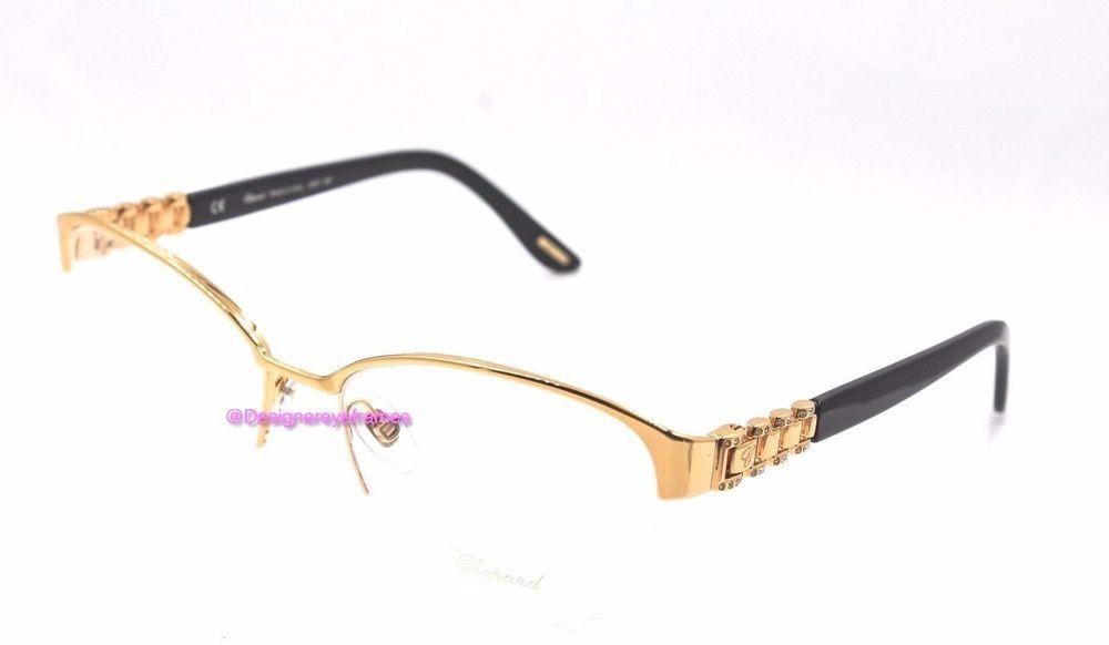 CHOPARD VCH A67S 0300 Gold Jeweled Semi Rimless RX 55MM Eyeglasses NWC AUTH  #Chopard