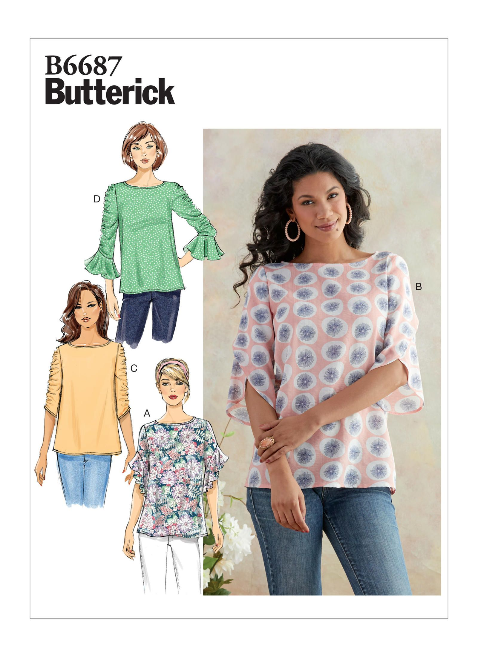 B12 Misses' Top with Long Sleeves Semi fitted top has back ...