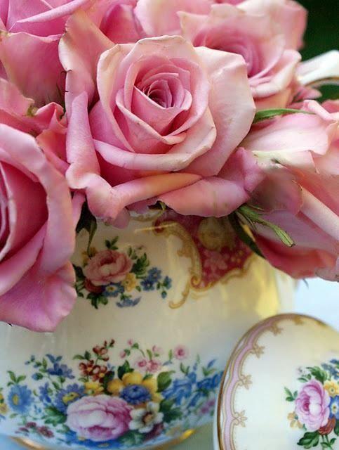 Pink roses and china