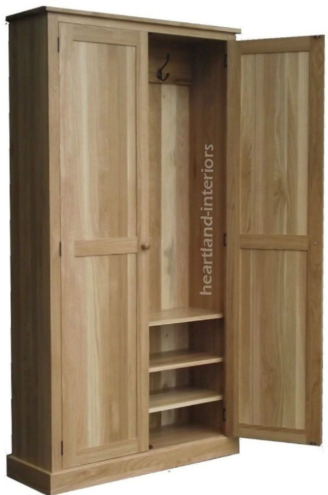 Details About Solid Oak Cupboard 2 Metres Tall Cloakroom