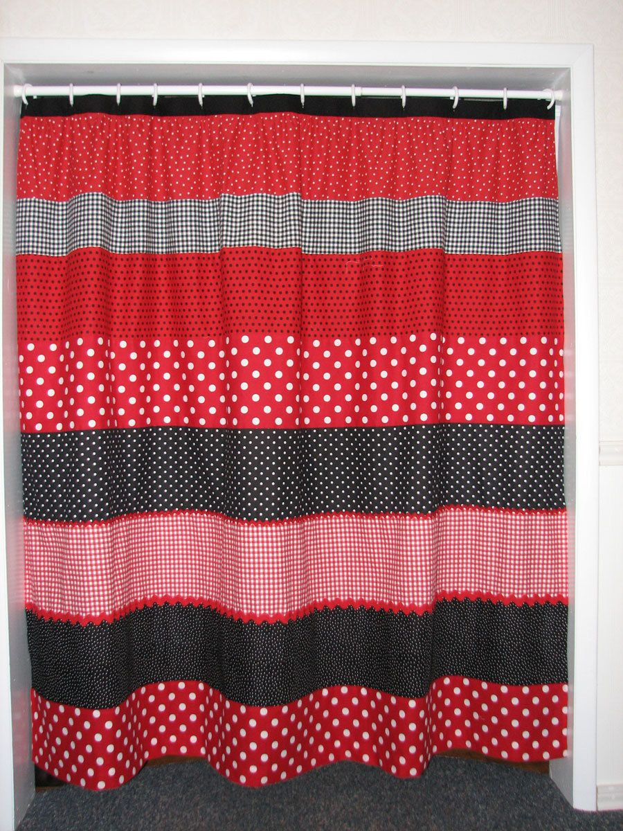 Red And Black Polka Dot Shower Curtain 6500 Via Etsy