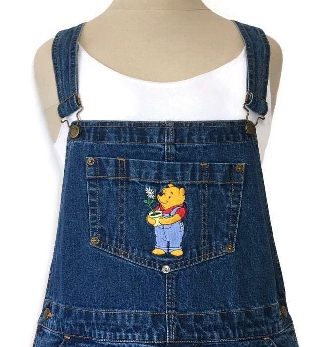 602bc8672bf Disney Shortalls Denim Large 33W Winnie the Pooh Carpenter Shorts ...