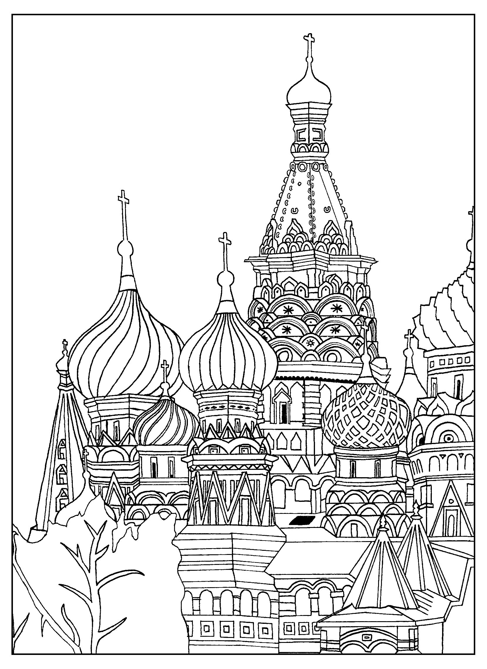 Free Adult Coloring Page Of The Saint Basil S Cathedral In Red Square In Moscow By Sofian