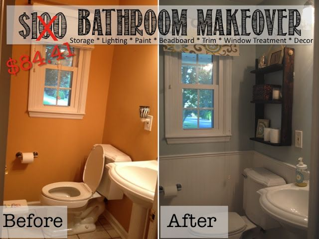 REVEAL $100 Small Bathroom Makeover!!! (Tons of ideas for