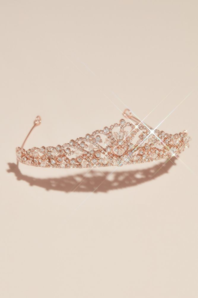 Bead Swirl and Pave Crystal Wedding Tiara Style H1