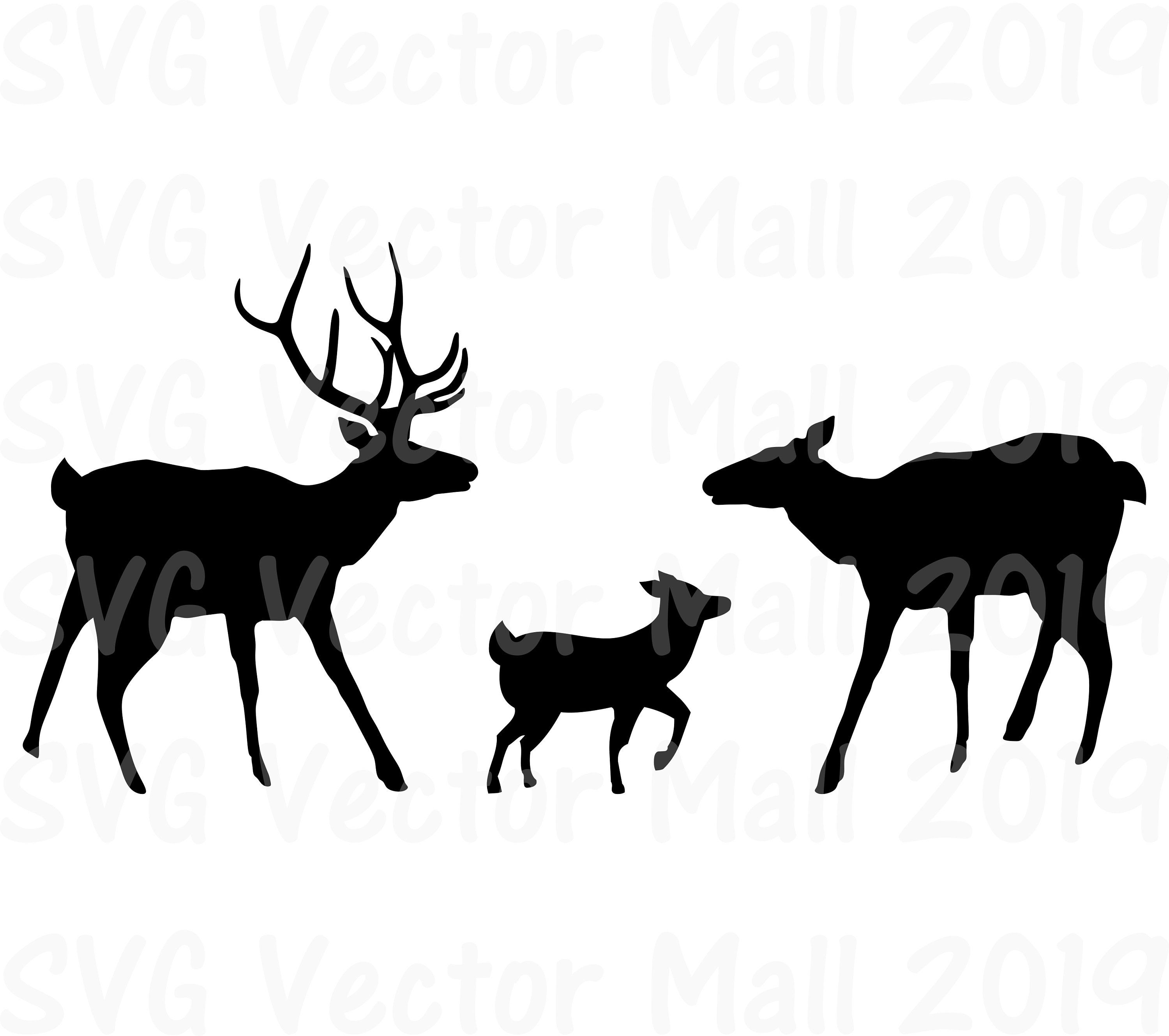 Sweet Deer Family With Mom And Baby In Our Etsy Shop Deer Family Svg Deer Svg Stag Buck Svg Doe Svg Fawn White In 2020 Elk Pictures Deer Family Deer Silhouette