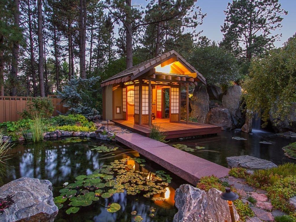 Asian Landscape Yard With Shoji Door Fence Bali Tea House Gazebos Pathway Pond