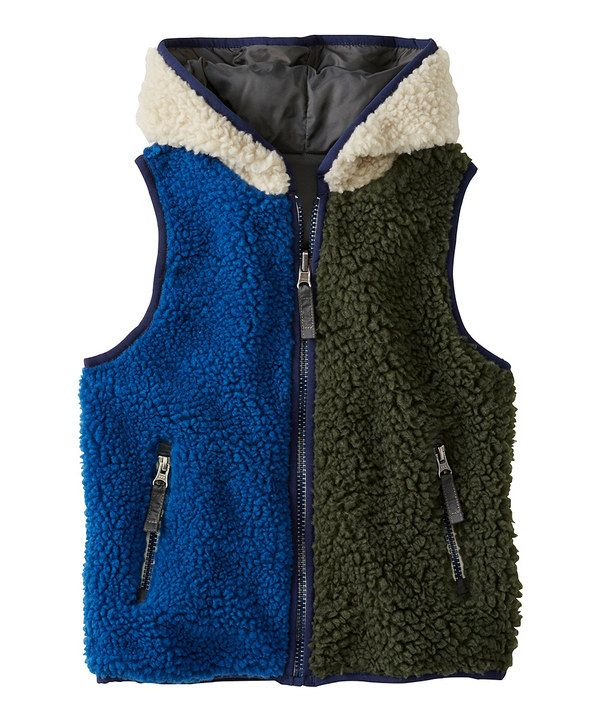 Hanna Anderson Green & Blue Reversible Sherpa Vest toddler& boys