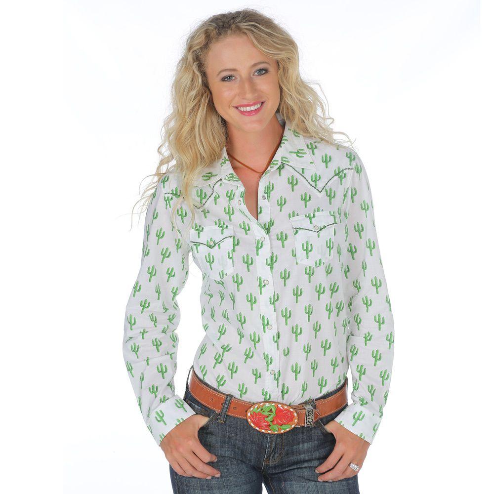 f696467654 Women s Wrangler White Cactus Snap Shirt