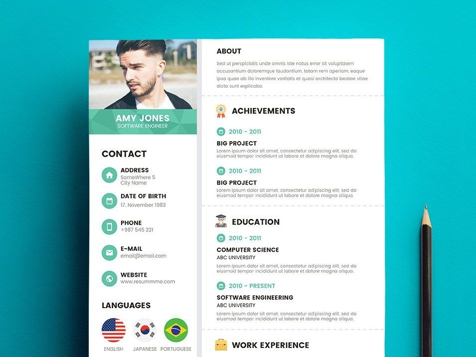 Free Creative Corporate Resume Template in PSD Format