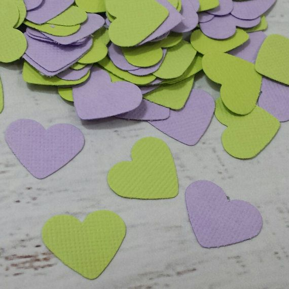 Heart Table Scatter  Lavender and Mint Heart Confetti by LucyBirdy