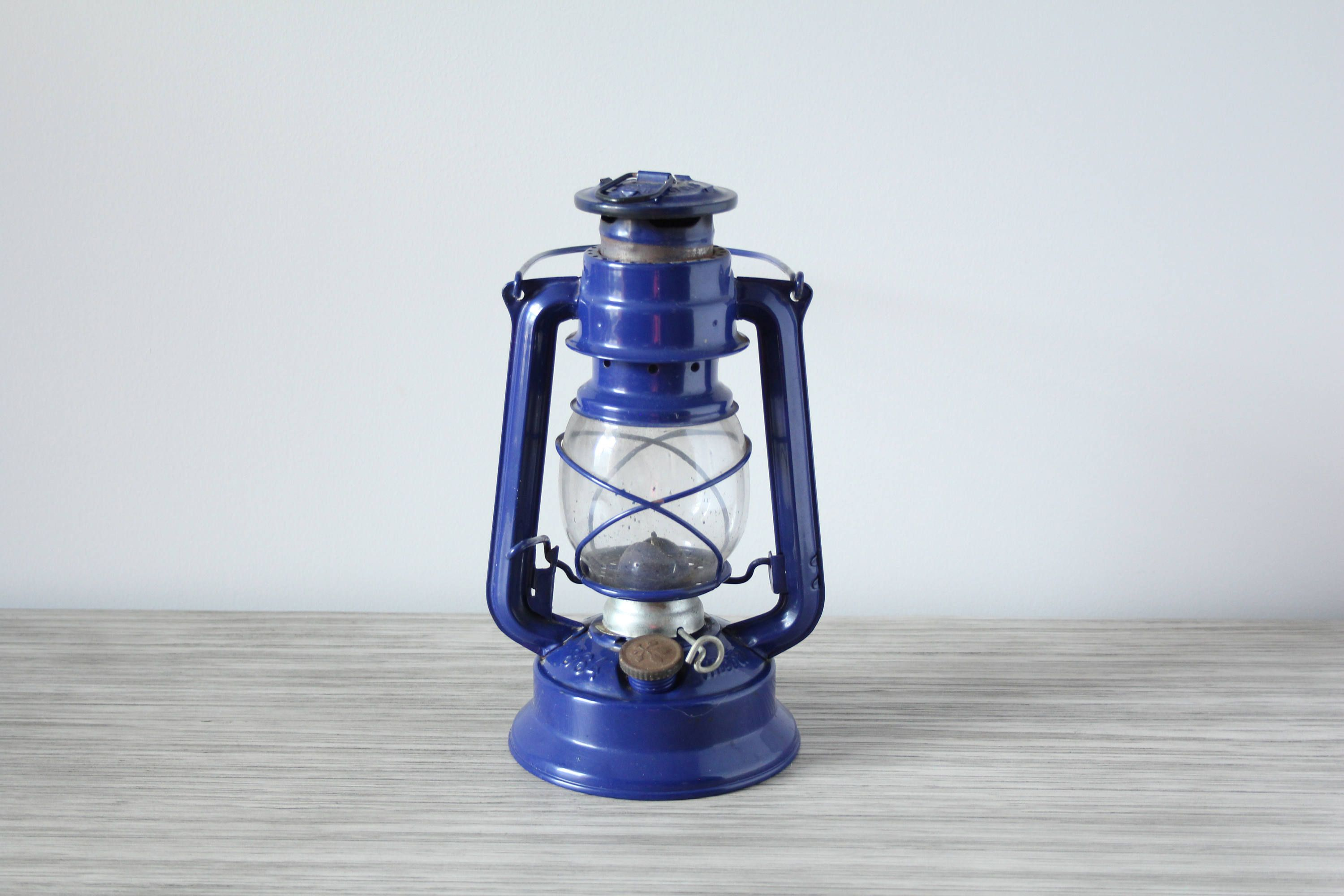 Vintage Meva 865 Cobalt Blue Oil Lamp Kerosene Lantern Made