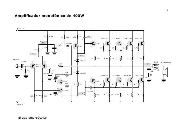 1 Amplificador Monofonico De 400w 75v Dc Amplificador