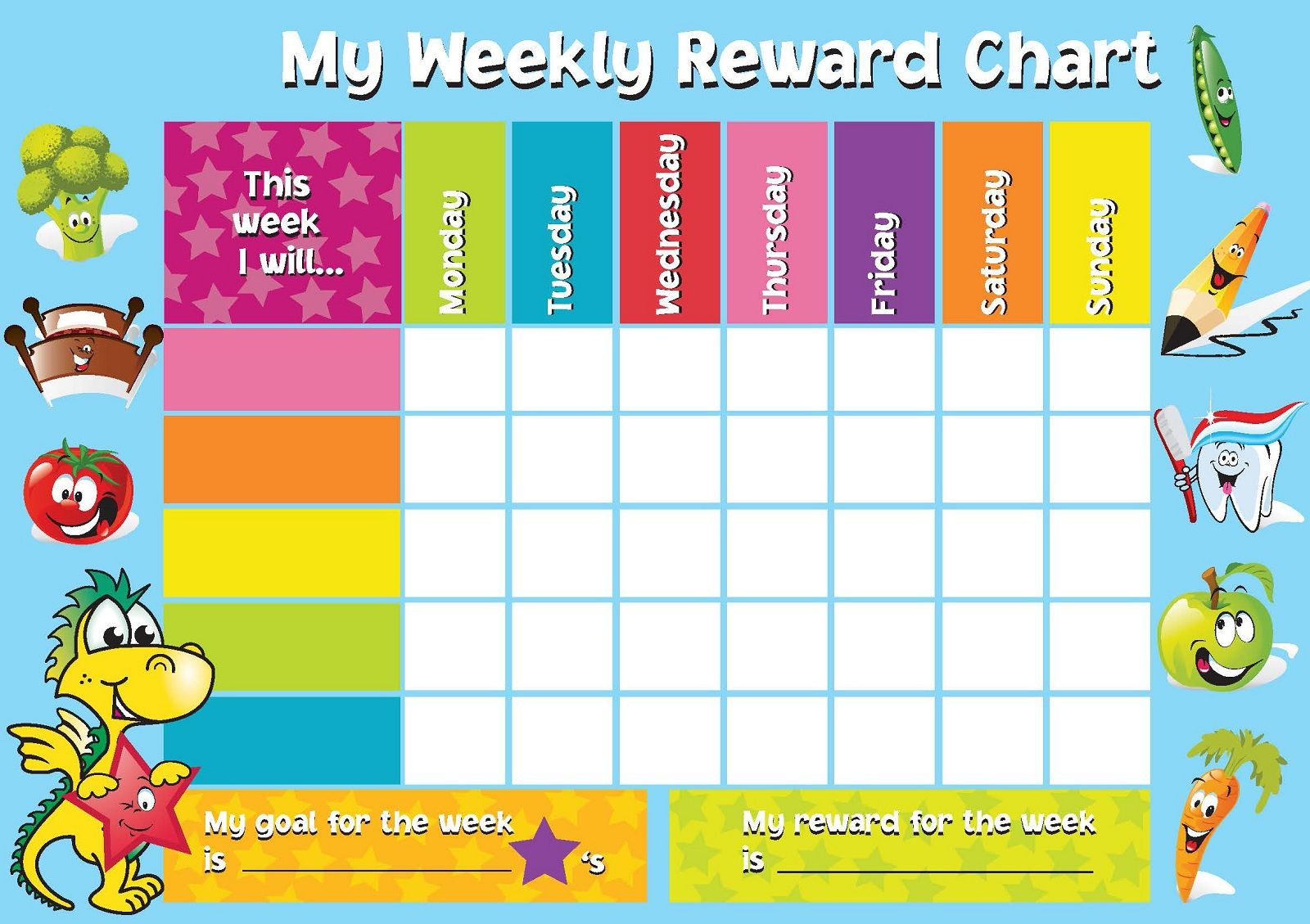 Printable reward chart template activity shelter charts also best images rh pinterest