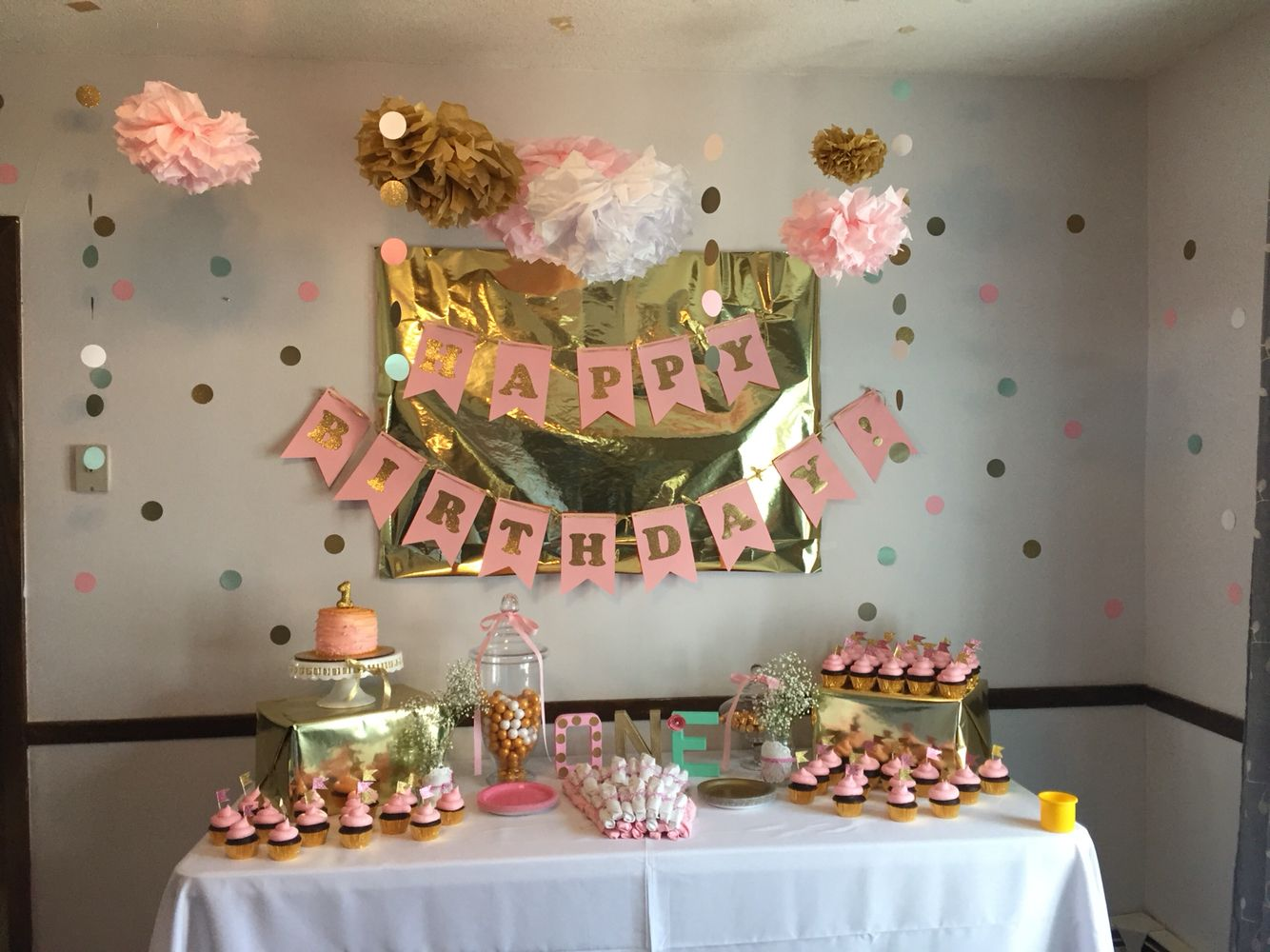 Cake table Pink and gold vintage first birthday party Addys first