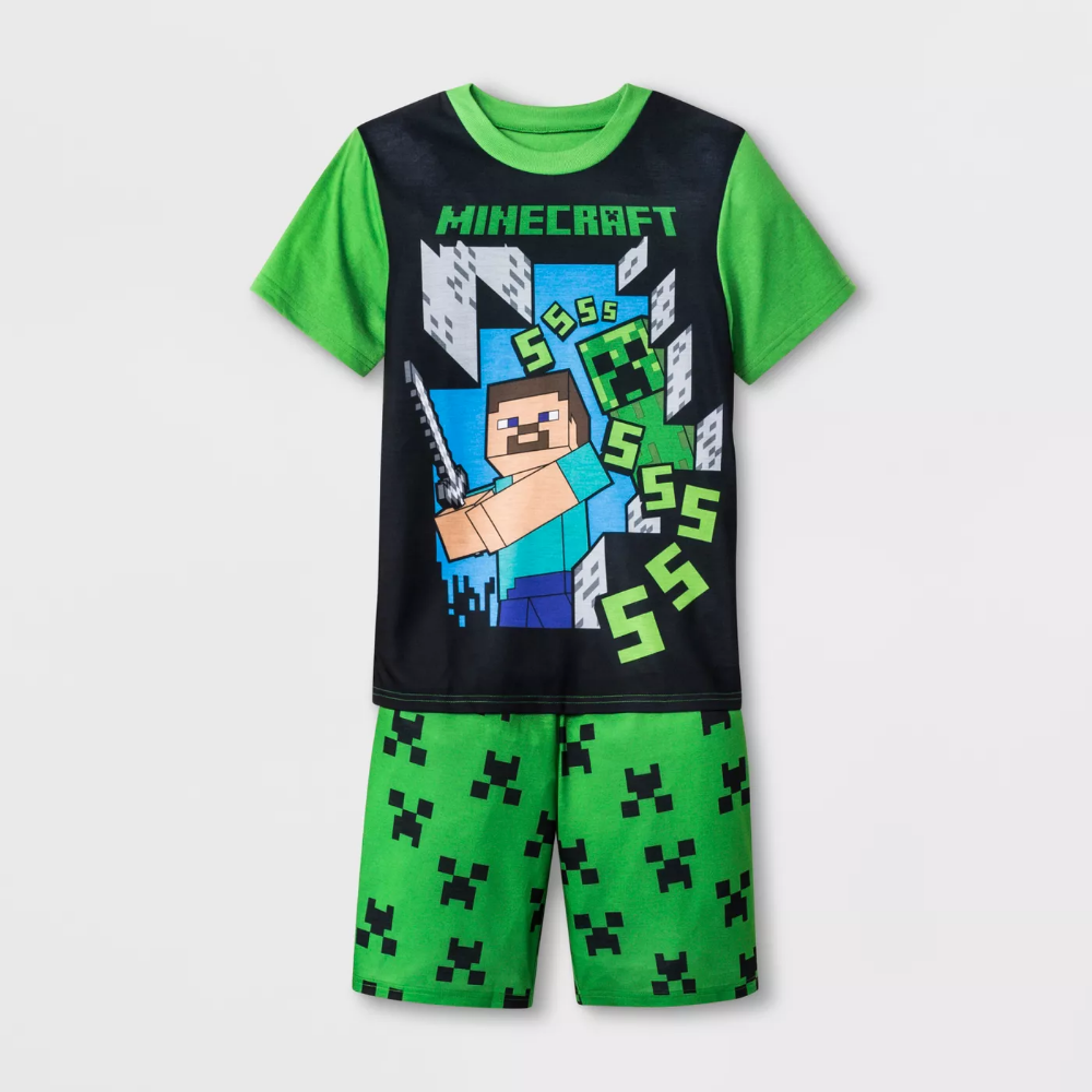Boys Minecraft 2pc Pajama Set Green Black Xs Target Pajama