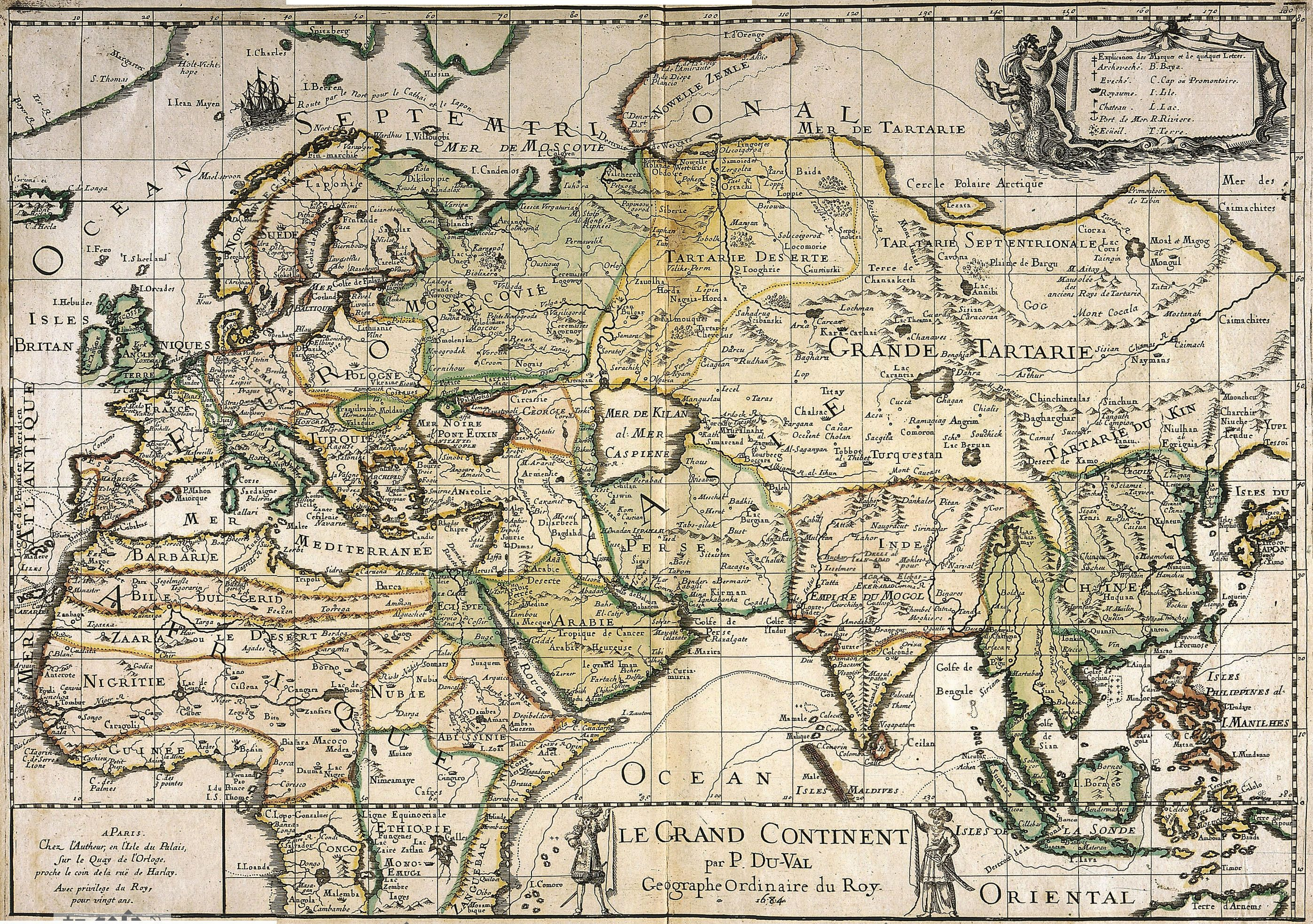 Old map of the World from 1684 year 2794—1968 History
