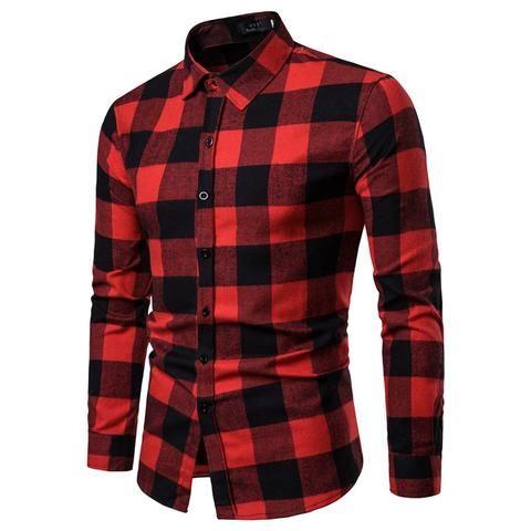 142e5ea9d6e Drop Shipping Men Plaid Shirt Long Sleeve Casual Shirts 2019 Fashion  Multi-color Checkered Cotton Chemise Homme Man Clthes
