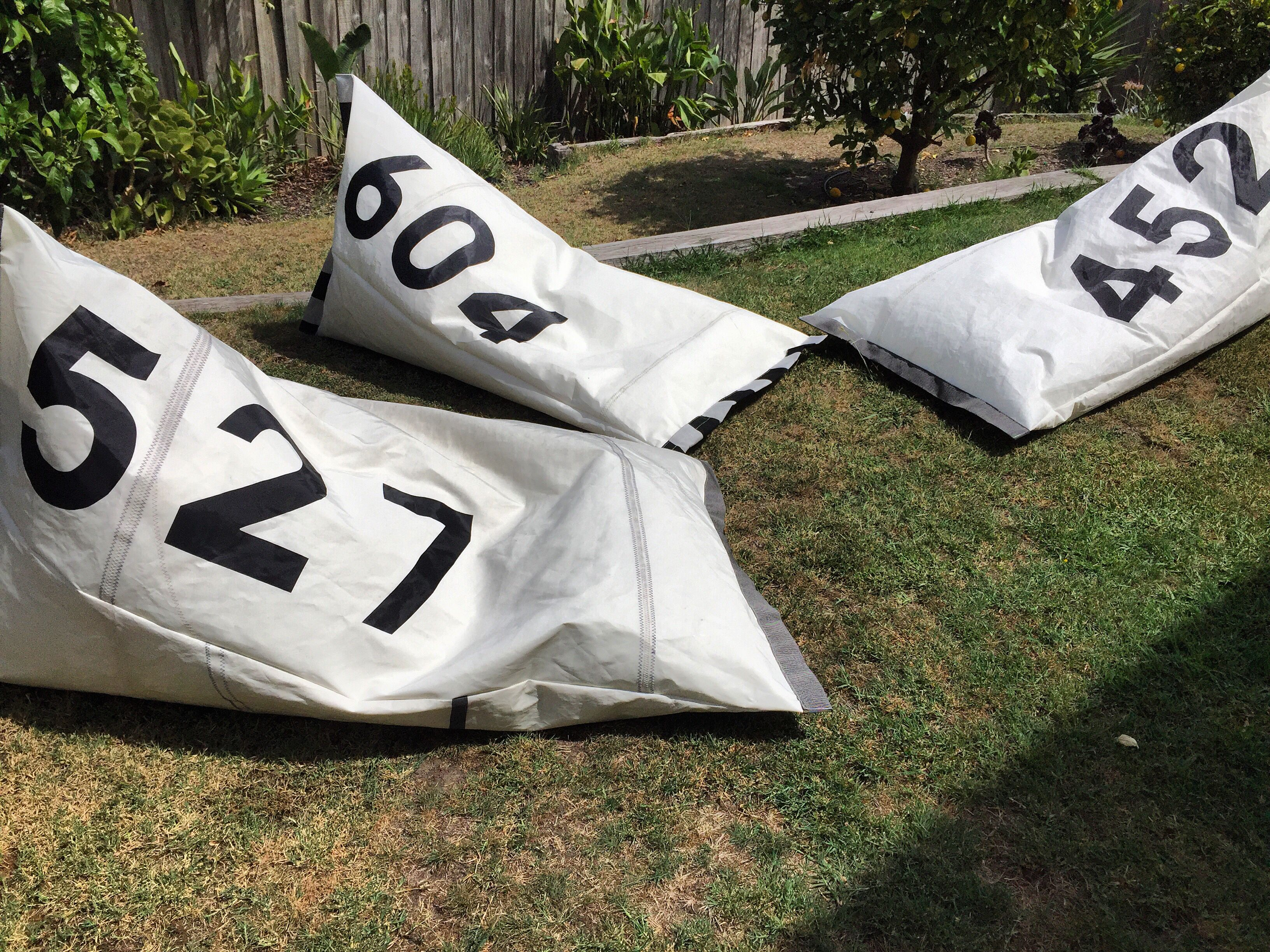 Large indoor/outdoor beanbags made from old sails. Upcycled