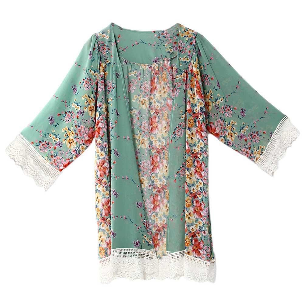 0c00e62ddf Wholesale New Womens Floral Printed Blouses Long Sleeve Chiffon Kimono Cardigan  Tops Loose Coat Bikini Cover Up Summer Beach Style Flower Cover Ups Quality  ...