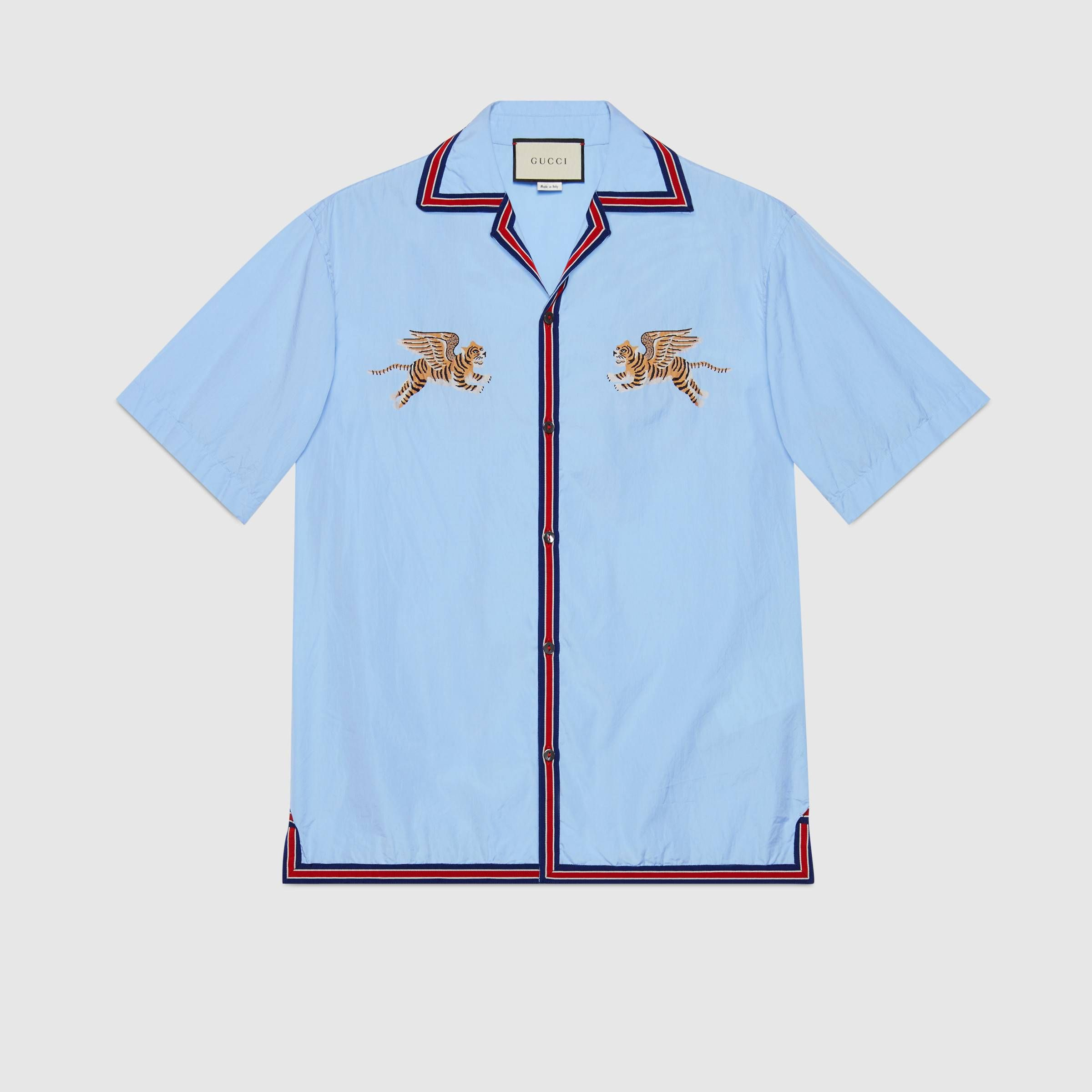 3014f52a0c9c Tiger fil coupé bowling shirt in Light blue cotton with flying tigers fil  coupé