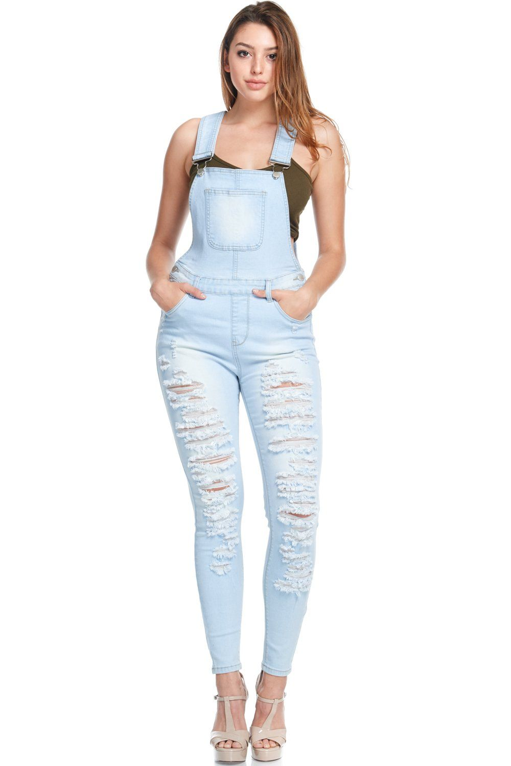aa9c1608b9e Women s Distressed Stretch Denim Overalls - Light blue in 2019 ...