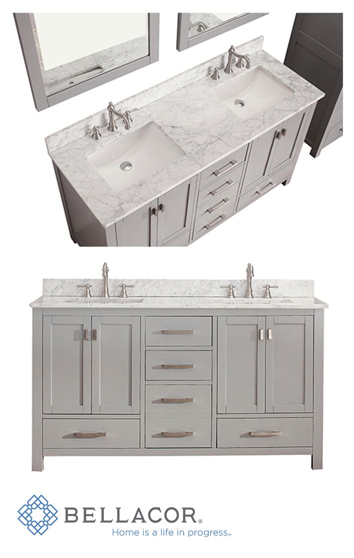 Avanity Modero Chilled Gray 60 Inch Double Vanity Only