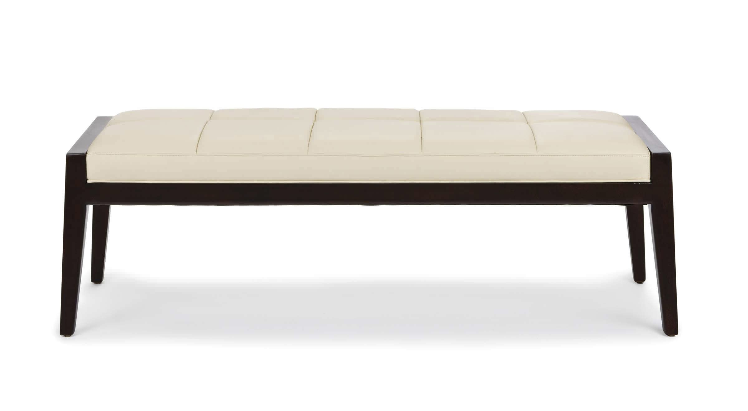 Contemporary upholstered bench leather white ascari hancock and moore bathroom benches White upholstered bench