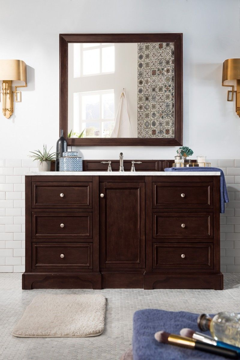 De Soto 60 Single Sink Bathroom Vanity Cabinet Burnished Mahogany Finish Matching Mir Single Sink Bathroom Vanity Bathroom Vanity Bathroom Vanity Makeover