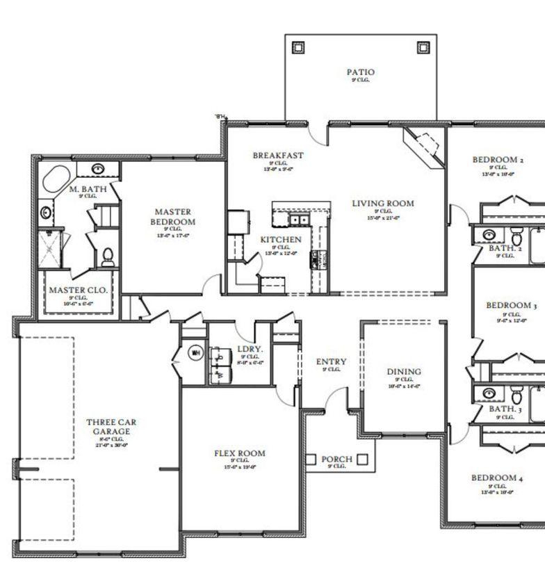 Communities In Oklahoma City 4corners Homes Flex Room Floor Plans Living Room Bedroom