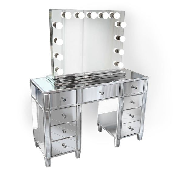 Glam Mirrored Makeup Vanity Set Includes Glam Hollywood Mirror Makeup Table With Multi Drawers Mirrored Vanity Table Vanity Set With Mirror Vanity Set
