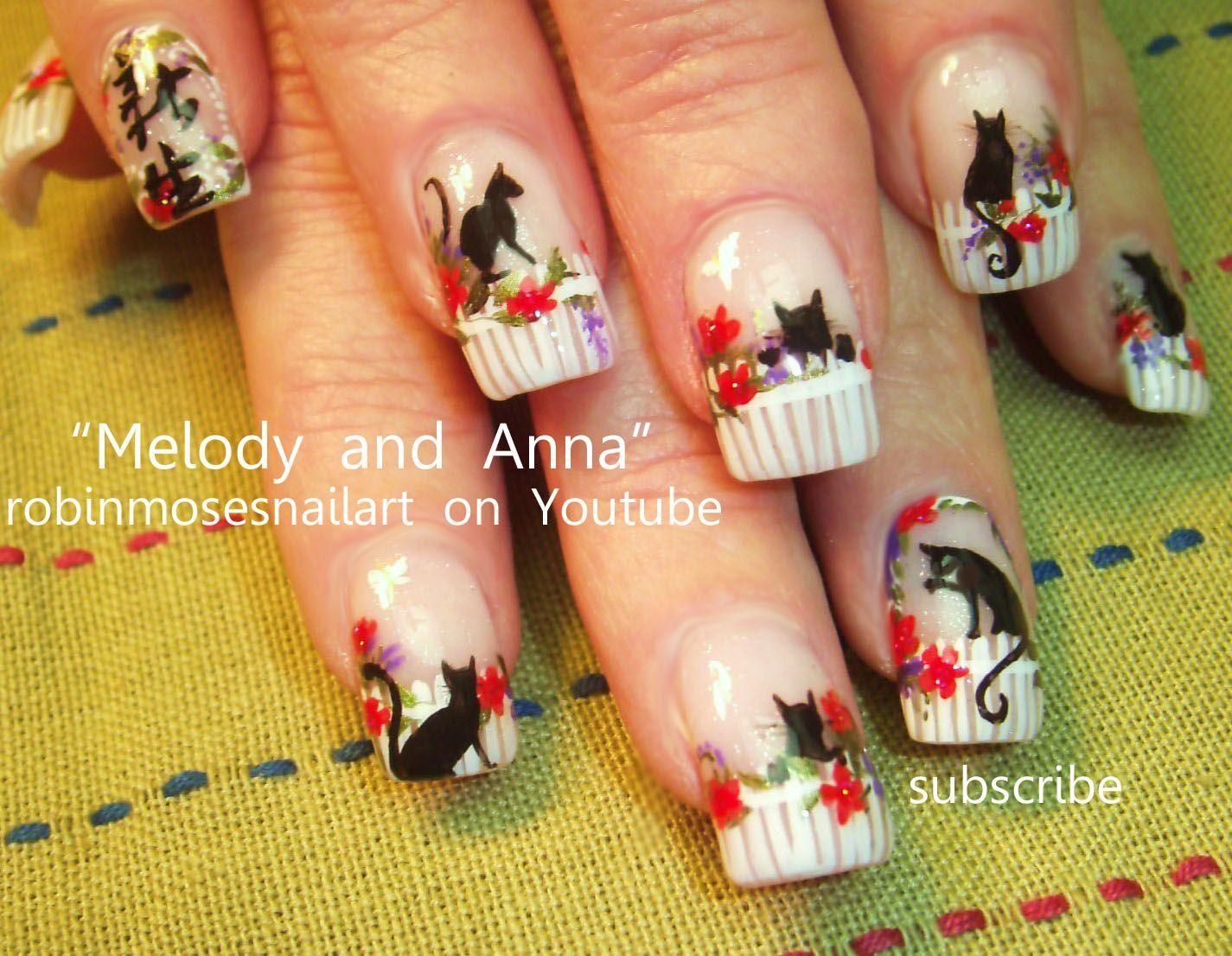 Nail-art by Robin Moses: cat nails, cat garden, kitty nails, kitten ...