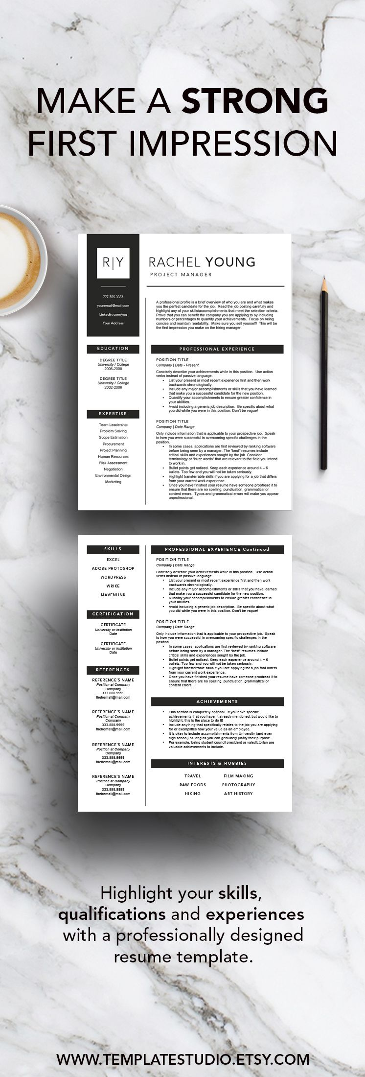 Title Page For Resume Modern Resume Template For Word And Pages Includes 1 2 & 3 Page .