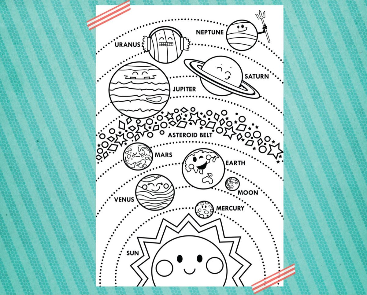 Solar System Printable 24x36 Vertical Layout