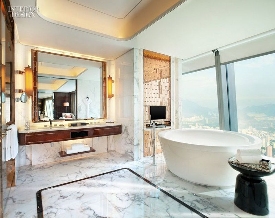 A stunning sky-high bathroom at the St. Regis Hotel in Shenzhen, Guangdong,  China by Cheng Chung Design, on our list of design Giants.