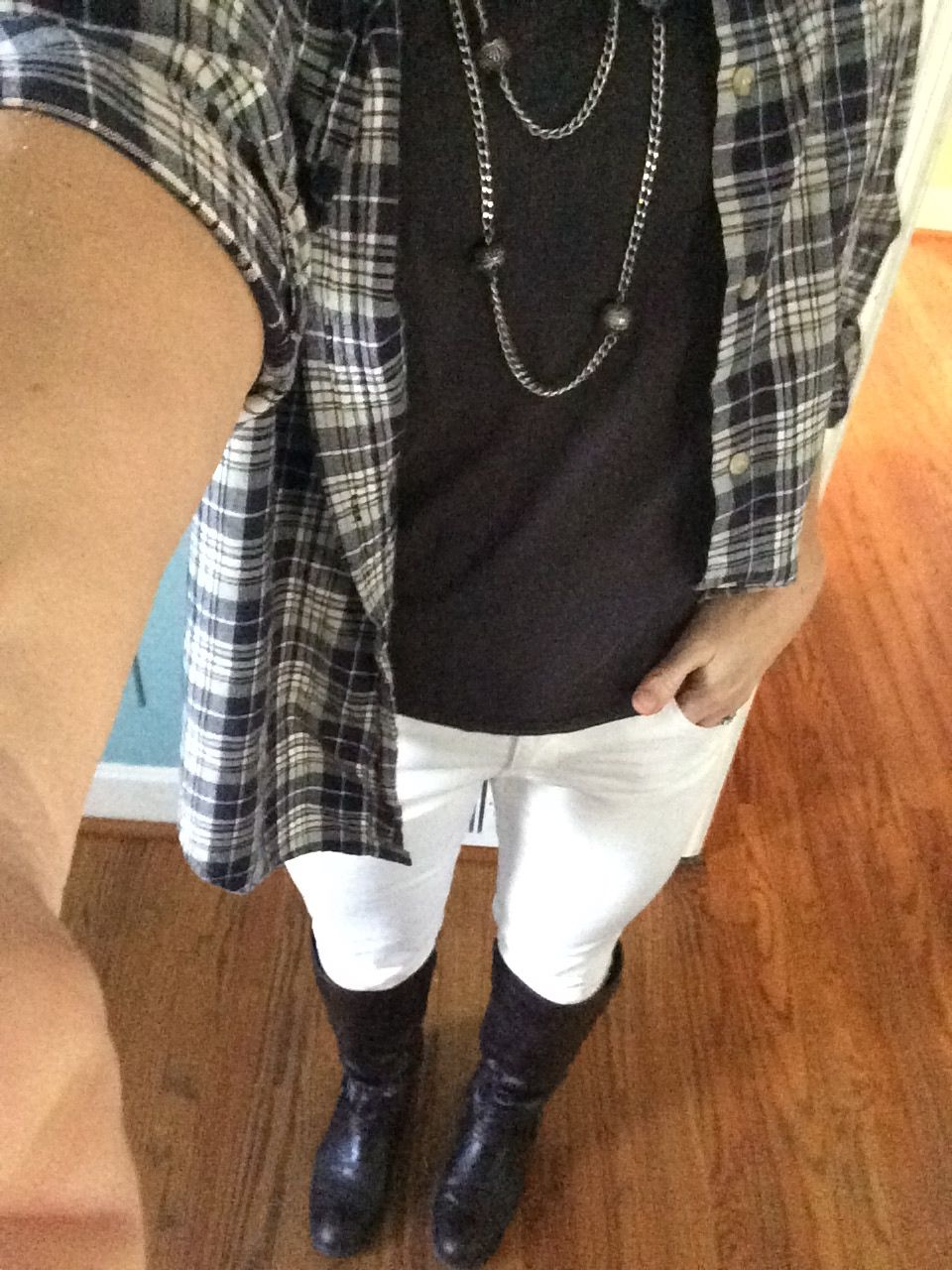 Flannel jeans and boots  flannel white jeans and tall boots  clothes  Pinterest  White