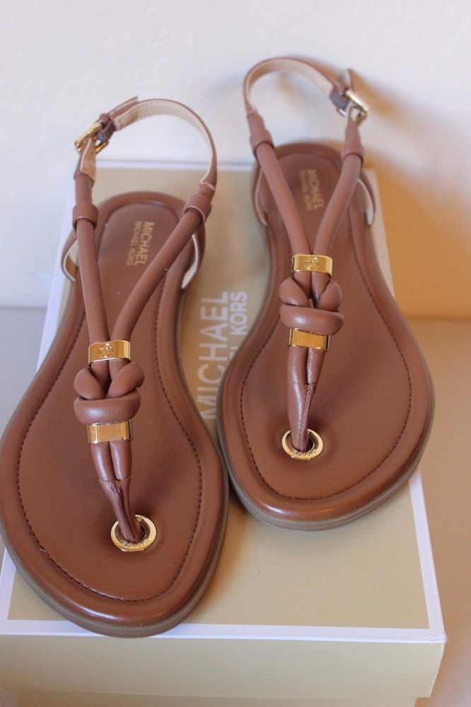 2e6700ae18f4 Michael Michael Kors Holly Sandal Leather Women s Size 8 Brown Luggage NEW   120…