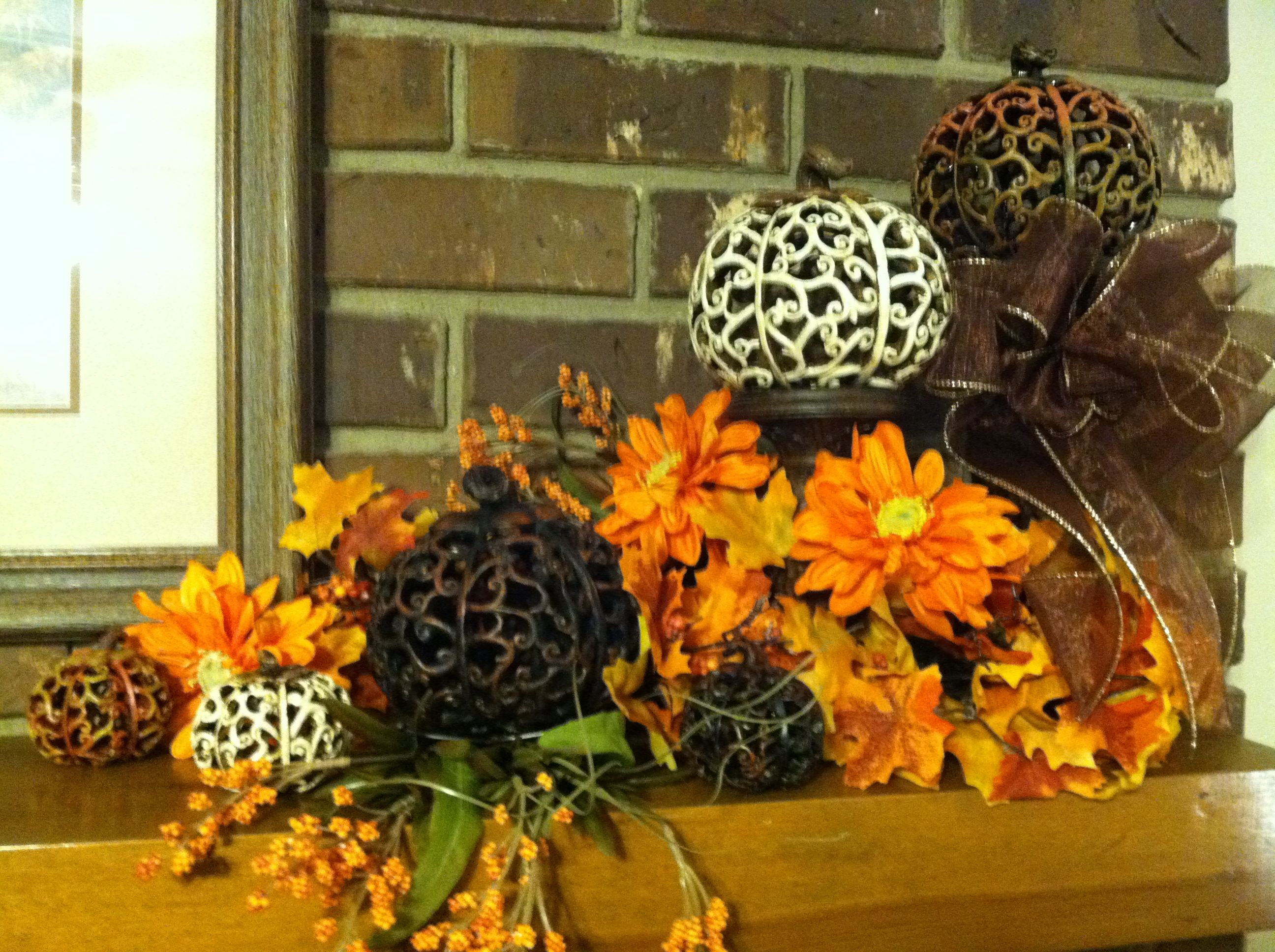 Fall decorations pumpkins from hobby lobby on candlesticks
