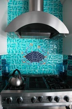 #Kitchen #backsplash is 4x4 Amabis #tile that mixes Acqua Light and Dark #Mauve and Sea #Indigo colors.