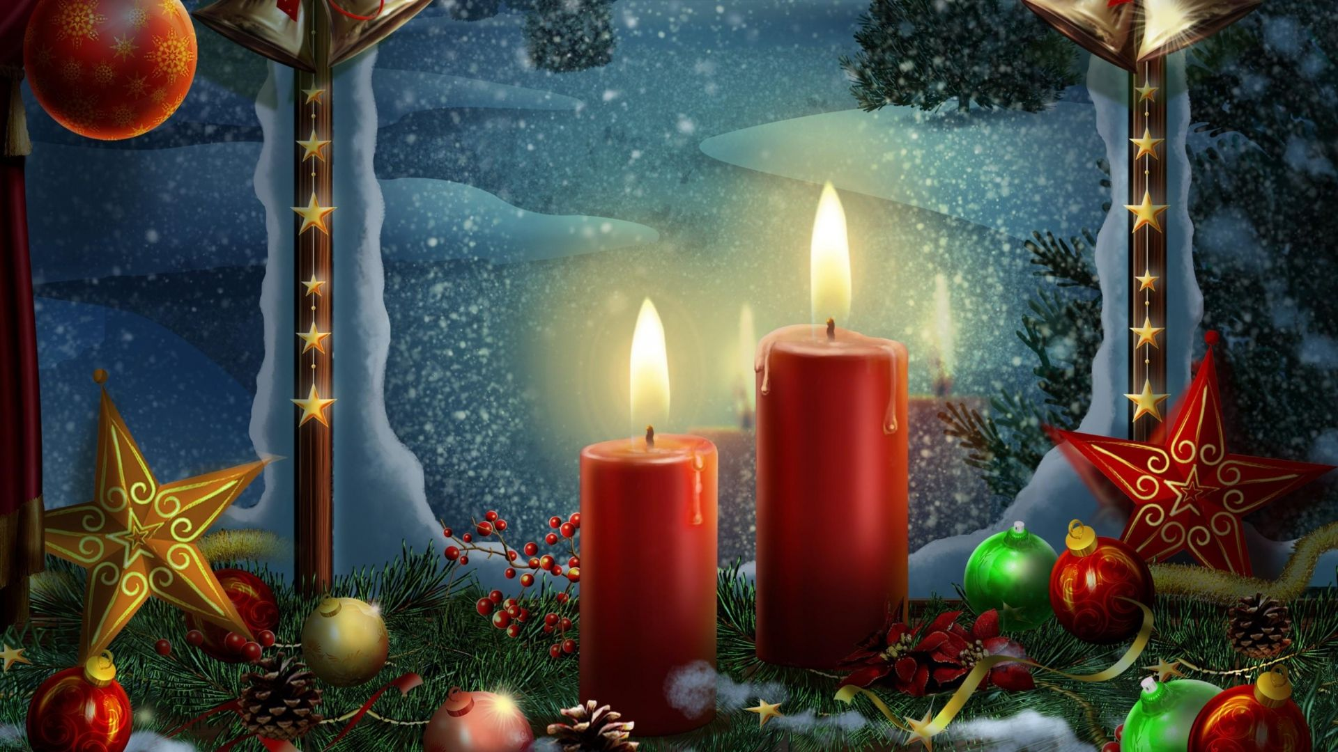1920x1080 Wallpaper new year, holiday candles, postcards