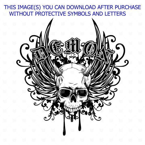 24a7ad82 Skull svg, Demon svg, Vector grunge skull t shirt design, Black Skull, Skull  with wings, Demon tatt
