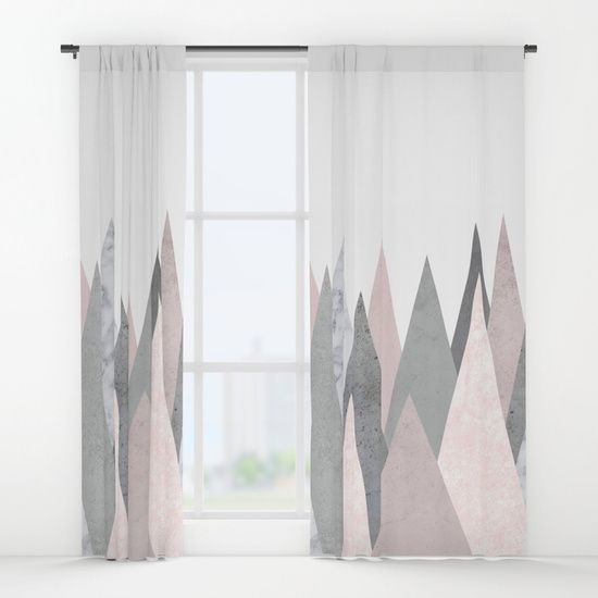 Blush Marble Gray Geometric Mountains Window Curtains