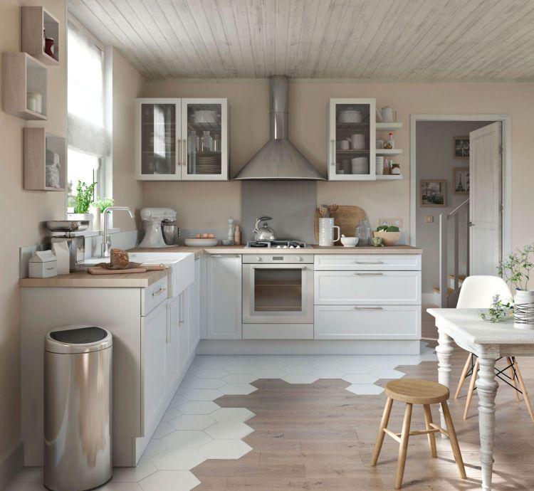 Fliesen Eichenparkett Bilder Kombiniert Ideen Kuche Kuchen Mobel Haus Kuchen Kuche Holzboden