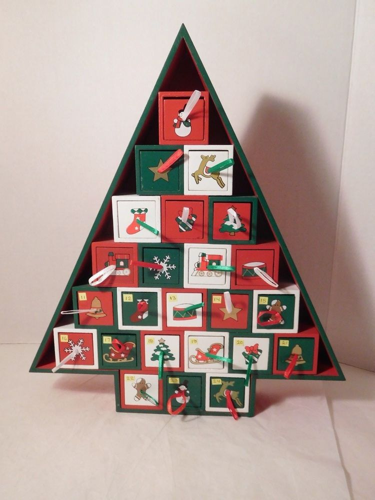 Christmas Tree Shaped Advent Calendar Box 24 Drawers Wood No Toys 14 Inch Unbran Wooden Advent Calendar Christmas Tree Advent Calendar Advent Calendar Boxes
