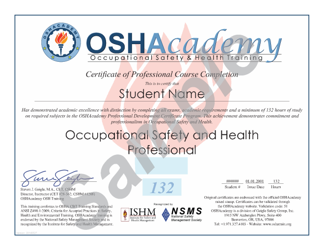 Oshacademy 132 hour osh professional program ehs for Health and safety certificate template